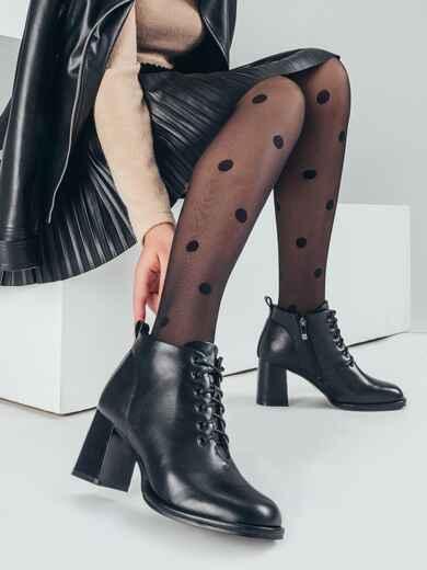 Демисезонные ботинки со шнуровкой на каблуке черные 51218, фото 1