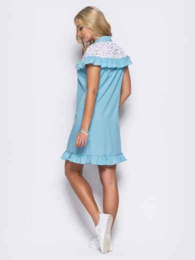 Голубое платье с оборкой и вставкой из гипюра - 11601, фото 2 – интернет-магазин Dressa