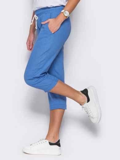 Голубые бриджи с поясом на резинке и карманами - 12743, фото 2 – интернет-магазин Dressa