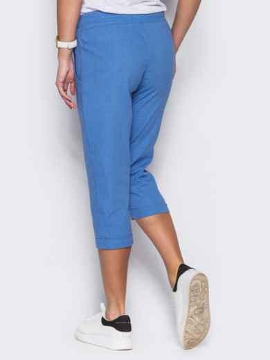 Голубые бриджи с поясом на резинке и карманами - 12743, фото 3 – интернет-магазин Dressa