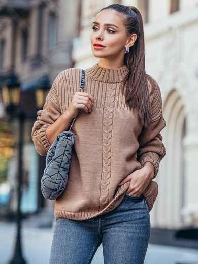 Коричневый свитер со спущенной линией плечевого шва 50207, фото 1