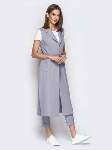 Серый комплект из удлиненного жилета и штанов 49771, фото 1