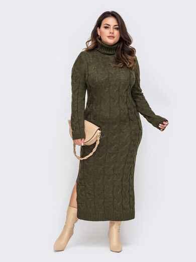 Вязаное платье большого размера в пол хаки 51576, фото 1