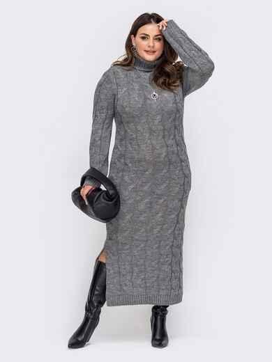 Вязаное платье большого размера в пол серое 51577, фото 1