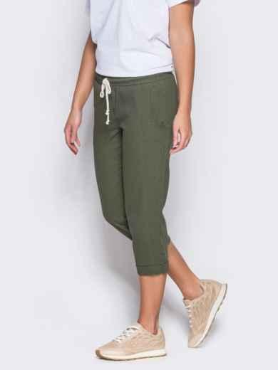 Зеленые бриджи с поясом на резинке и карманами - 12744, фото 2 – интернет-магазин Dressa