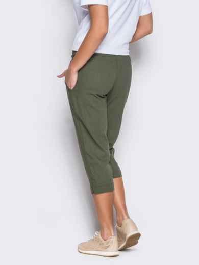 Зеленые бриджи с поясом на резинке и карманами - 12744, фото 3 – интернет-магазин Dressa