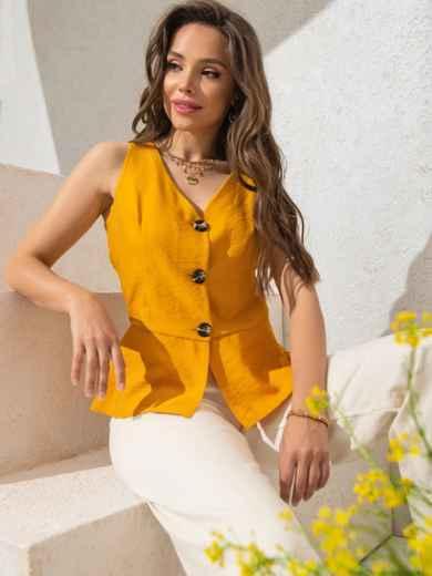 Желтый топ с баской и вырезом по спинке - 49164, фото 2 – интернет-магазин Dressa