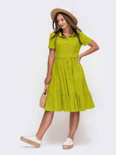 Зеленое платье-рубашка из костюмной ткани с расклешенной юбкой 54333, фото 1