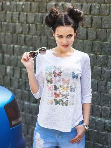 Белая футболка с рукавами 3/4 и принтом 22126, фото 1