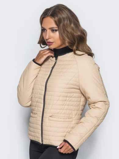 Бежевая стеганая куртка с прорезными карманами - 14692, фото 3 – интернет-магазин Dressa