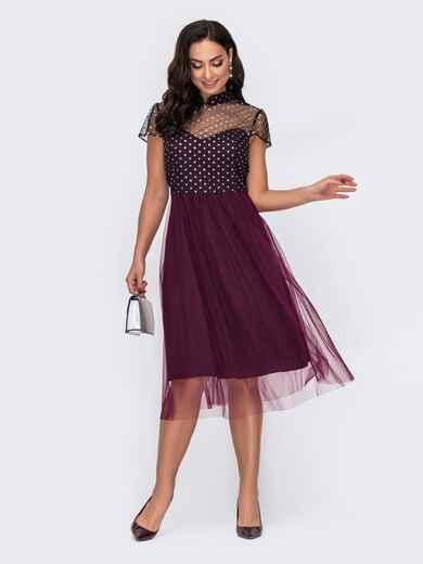 Бордовое платье батал с пайетками и расклешенной юбкой 52147, фото 1