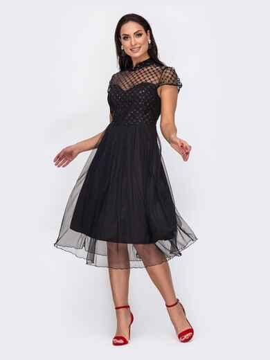 Черное платье батал с пайетками и расклешенной юбкой 52146, фото 1