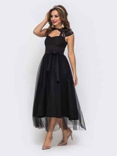 Чёрное платье с фигурным вырезом и гипюровыми вставками чёрное - 42837, фото 2 – интернет-магазин Dressa