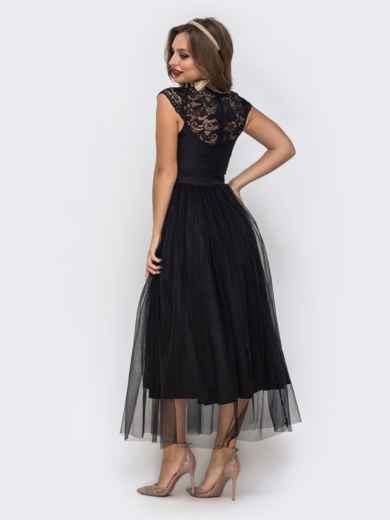 Чёрное платье с фигурным вырезом и гипюровыми вставками чёрное - 42837, фото 3 – интернет-магазин Dressa