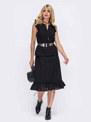 Чёрный комплект из прошвы с блузкой и юбкой-трапецией 50044, фото 1