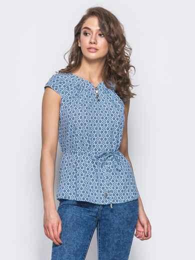 """Голубая блузка с рукавами """"крыло"""" и пуговицами - 10284, фото 1 – интернет-магазин Dressa"""