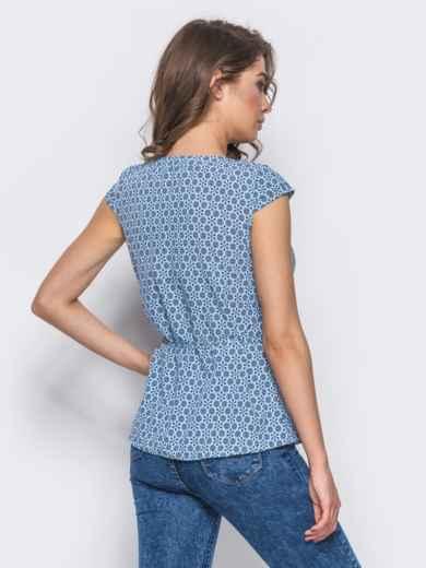 """Голубая блузка с рукавами """"крыло"""" и пуговицами - 10284, фото 2 – интернет-магазин Dressa"""
