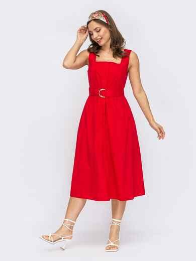 Красный сарафан из хлопка на пуговицах 53780, фото 1