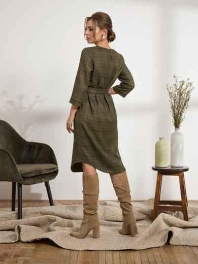 Платье из костюмной ткани с вырезом на горловине цвета хаки 44218, фото 2