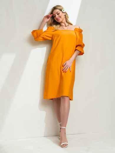 Платье прямого кроя с открытыми плечами желтое 49207, фото 2