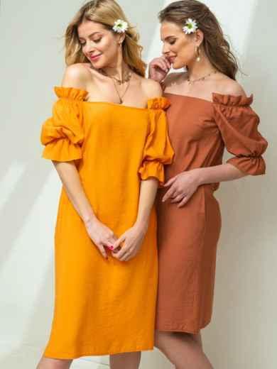 Платье прямого кроя с открытыми плечами желтое 49207, фото 4