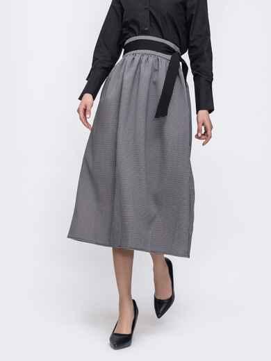 Расклешенная юбка серого цвета в клетку со вшитым поясом 45723, фото 1