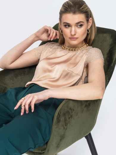 Шелковая блузка с гипюровой кокеткой бежевая 45712, фото 1