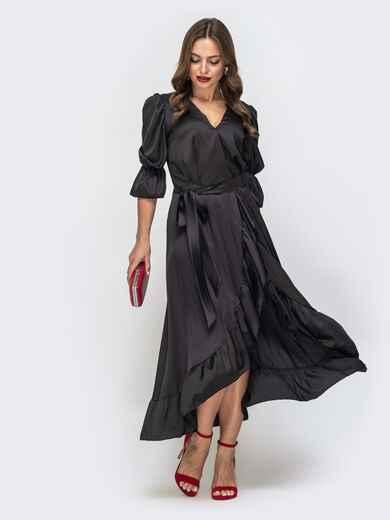 Шелковое платье в пол с воланом по низу чёрное 45721, фото 1