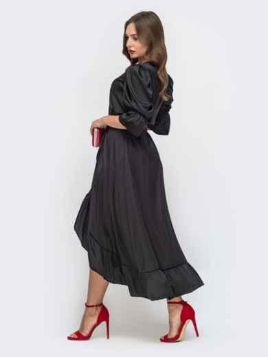 Шелковое платье в пол с воланом по низу чёрное 45721, фото 3
