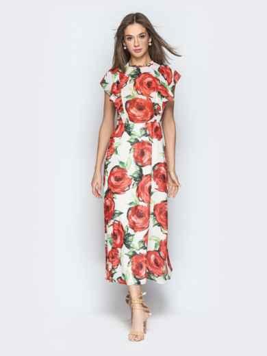 Шифоновое платье-макси с цветочным принтом и воланами - 21273, фото 2 – интернет-магазин Dressa