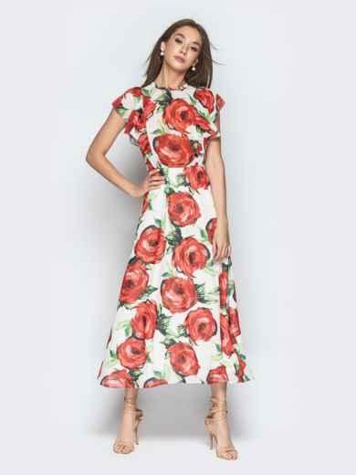 Шифоновое платье-макси с цветочным принтом и воланами - 21273, фото 3 – интернет-магазин Dressa