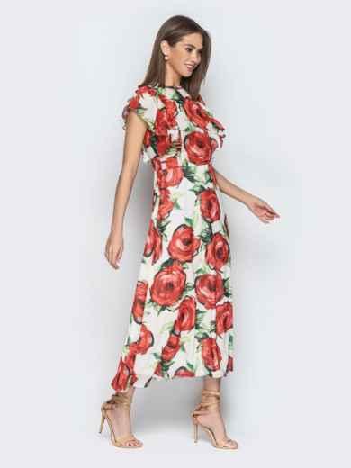 Шифоновое платье-макси с цветочным принтом и воланами - 21273, фото 4 – интернет-магазин Dressa