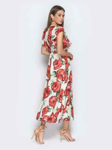 Шифоновое платье-макси с цветочным принтом и воланами - 21273, фото 5 – интернет-магазин Dressa
