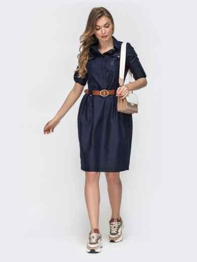 Тёмно-синее платье со шлевками 45788, фото 2