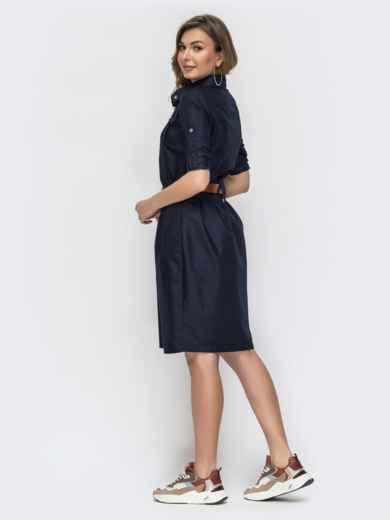Тёмно-синее платье со шлевками 45788, фото 3