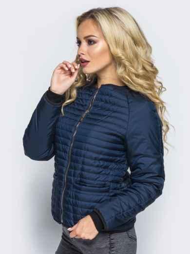 Темно-синяя стеганая куртка с прорезными карманами - 14689, фото 2 – интернет-магазин Dressa