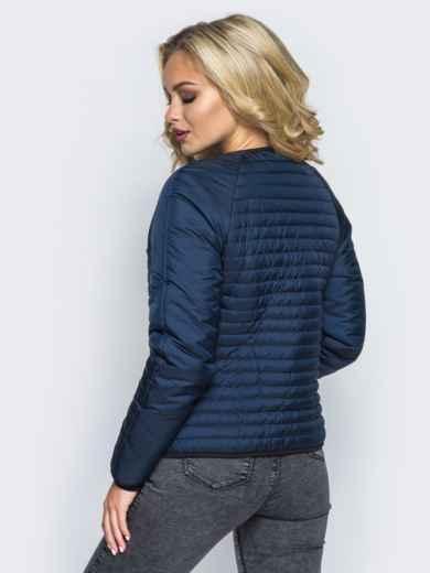 Темно-синяя стеганая куртка с прорезными карманами - 14689, фото 3 – интернет-магазин Dressa