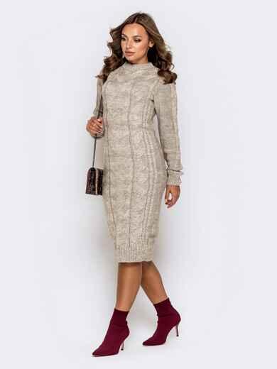 Вязаное платье-миди с косами бежевое 41063, фото 1