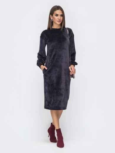Платье прямого кроя из велюра тёмно-серое 40260, фото 1