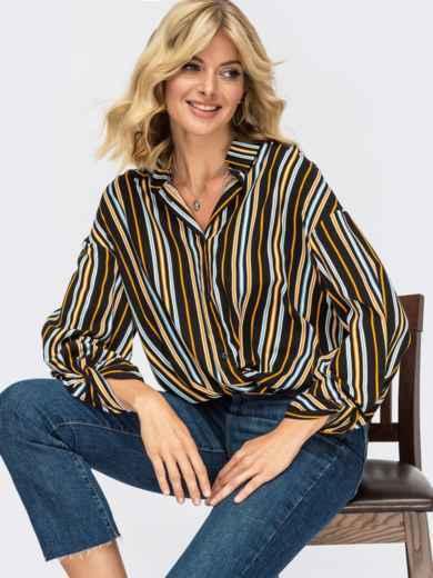 Блузка свободного кроя в полоску и декоративным узлом 55082, фото 1