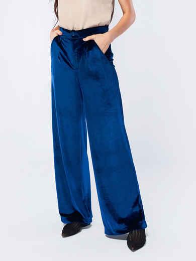 Брюки-гаучо синего цвета из велюра - 17504, фото 1 – интернет-магазин Dressa