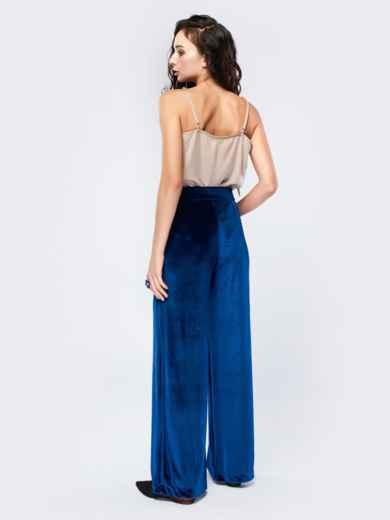 Брюки-гаучо синего цвета из велюра - 17504, фото 3 – интернет-магазин Dressa
