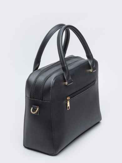 Чёрная сумка-тоут на два отдела с ремешком - 20557, фото 2 – интернет-магазин Dressa
