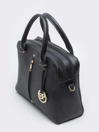 Чёрная сумка-тоут на два отдела с ремешком - 20557, фото 3 – интернет-магазин Dressa