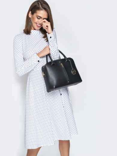 Чёрная сумка-тоут на два отдела с ремешком - 20557, фото 4 – интернет-магазин Dressa
