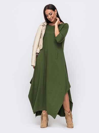 Длинное платье батал с разрезами по бокам хаки 51345, фото 1