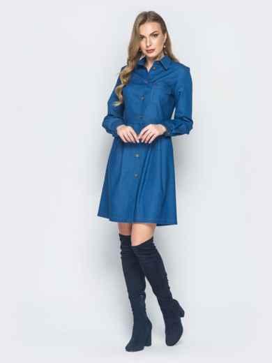 Джинсовое платье синего цвета с расклешенной юбкой - 18762, фото 2 – интернет-магазин Dressa