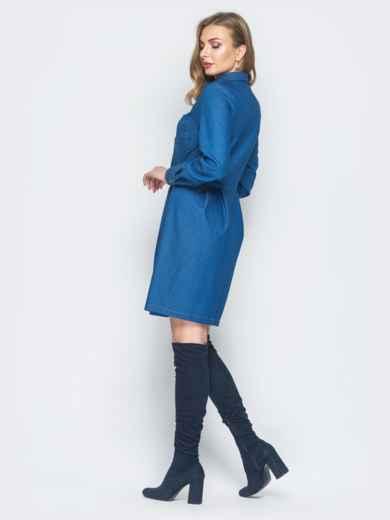 Джинсовое платье синего цвета с расклешенной юбкой - 18762, фото 3 – интернет-магазин Dressa