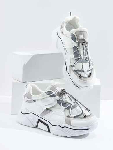 Кроссовки на толстой подошве белые 47510, фото 1