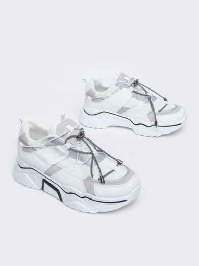Кроссовки на толстой подошве белые - 47510, фото 2 – интернет-магазин Dressa